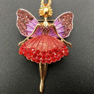 Betsey Johnson Rhinestone Fairy Angel Necklace